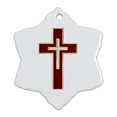 Red Christian cross Snowflake Ornament (Two Sides)