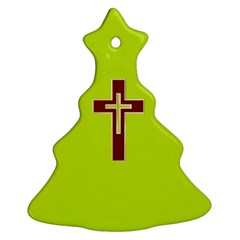 Red Christian Cross Christmas Tree Ornament (two Sides)