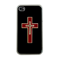 Red Christian cross Apple iPhone 4 Case (Clear)
