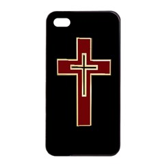 Red Christian Cross Apple Iphone 4/4s Seamless Case (black)