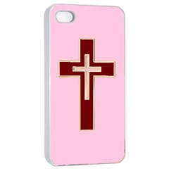 Red Christian cross Apple iPhone 4/4s Seamless Case (White)