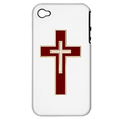 Red Christian cross Apple iPhone 4/4S Hardshell Case (PC+Silicone)