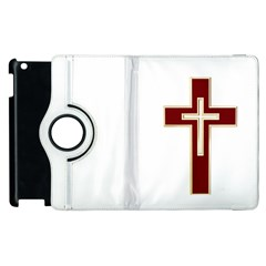 Red Christian cross Apple iPad 3/4 Flip 360 Case