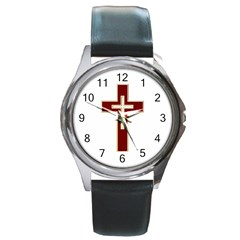 Red Christian cross Round Metal Watch