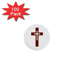 Red Christian Cross 1  Mini Button (100 Pack)