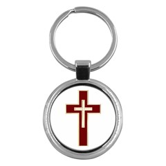 Red Christian cross Key Chain (Round)