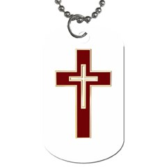 Red Christian cross Dog Tag (Two Sides)