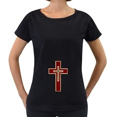 Red Christian cross Women s Loose-Fit T-Shirt (Black)