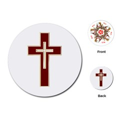 Red Christian Cross Playing Cards (round)