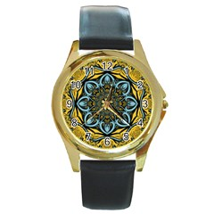 Blue floral fractal Round Gold Metal Watches