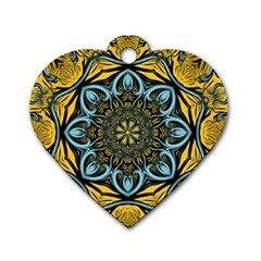 Blue floral fractal Dog Tag Heart (Two Sides)