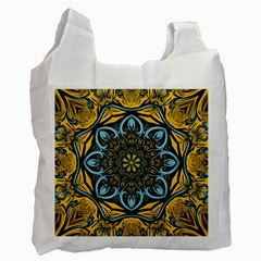 Blue floral fractal Recycle Bag (One Side)