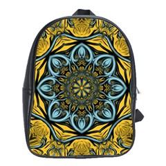 Blue floral fractal School Bags(Large)