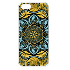 Blue floral fractal Apple iPhone 5 Seamless Case (White)