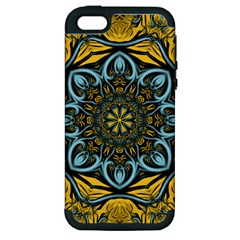 Blue floral fractal Apple iPhone 5 Hardshell Case (PC+Silicone)