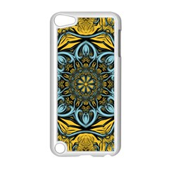 Blue floral fractal Apple iPod Touch 5 Case (White)