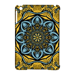 Blue floral fractal Apple iPad Mini Hardshell Case (Compatible with Smart Cover)