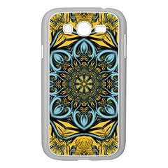 Blue floral fractal Samsung Galaxy Grand DUOS I9082 Case (White)