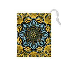 Blue Floral Fractal Drawstring Pouches (medium)