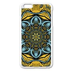 Blue Floral Fractal Apple Iphone 6 Plus/6s Plus Enamel White Case