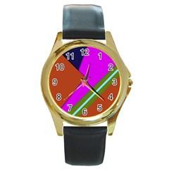 Geo Fun 13 Round Gold Metal Watches