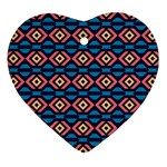 Rhombus  pattern Heart Ornament (Two Sides) Front