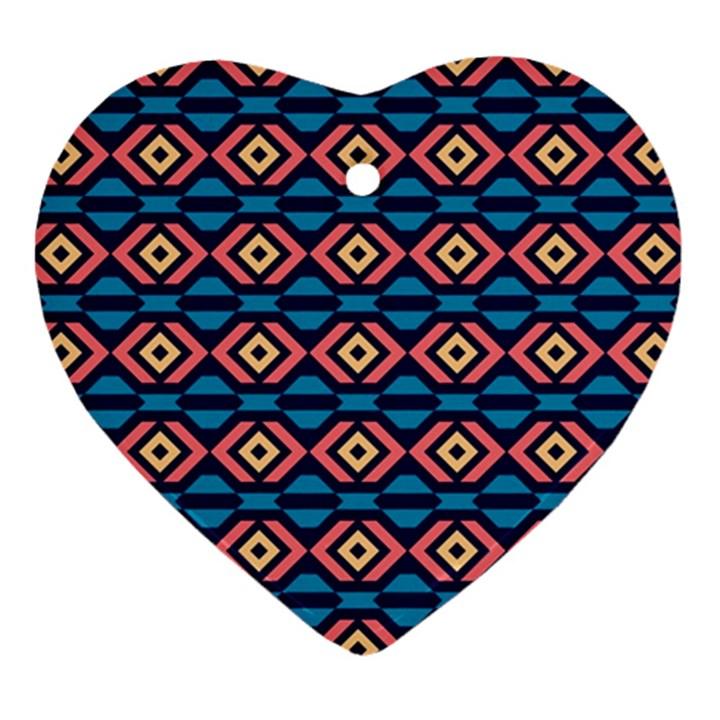 Rhombus  pattern Heart Ornament (Two Sides)