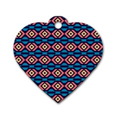 Rhombus  pattern Dog Tag Heart (One Side)
