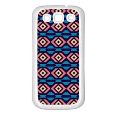 Rhombus  pattern Samsung Galaxy S3 Back Case (White)