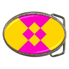 Yellow pink shapes Belt Buckle