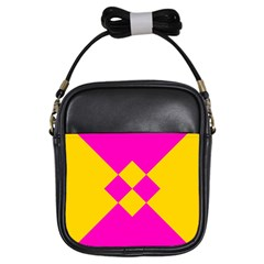 Yellow pink shapes Girls Sling Bag