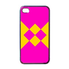 Yellow pink shapes Apple iPhone 4 Case (Black)