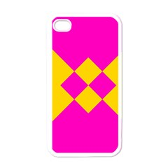 Yellow pink shapes Apple iPhone 4 Case (White)
