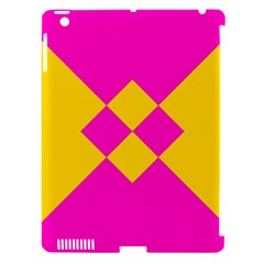 Yellow pink shapes Apple iPad 3/4 Hardshell Case (Compatible with Smart Cover)