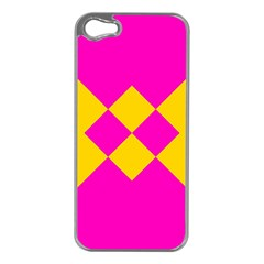 Yellow pink shapes Apple iPhone 5 Case (Silver)