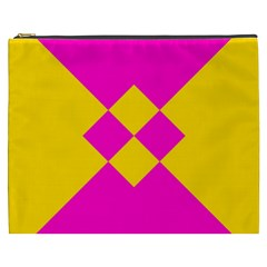 Yellow pink shapes Cosmetic Bag (XXXL)