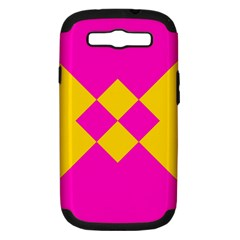 Yellow pink shapes Samsung Galaxy S III Hardshell Case (PC+Silicone)
