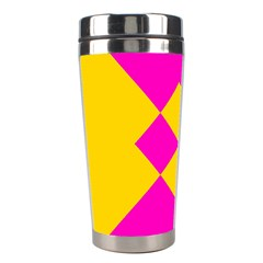 Yellow pink shapes Stainless Steel Travel Tumbler