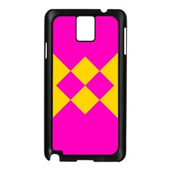 Yellow pink shapes Samsung Galaxy Note 3 N9005 Case (Black)
