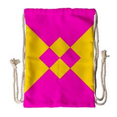 Yellow pink shapes Large Drawstring Bag