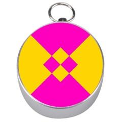Yellow Pink Shapes Silver Compass