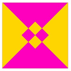 Yellow pink shapes Satin Scarf