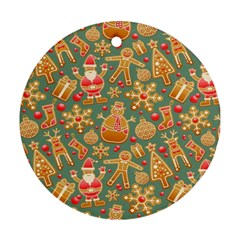 Santa and Friends Pattern Round Ornament (Two Sides)