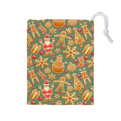 Santa and Friends Pattern Drawstring Pouches (Large)