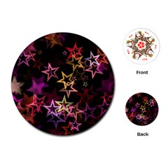 Sparkly Stars Pattern Playing Cards (round)