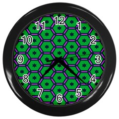 Stars in hexagons pattern Wall Clock (Black)