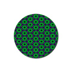 Stars in hexagons pattern Rubber Round Coaster (4 pack)