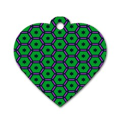 Stars in hexagons pattern Dog Tag Heart (Two Sides)