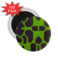 Brown green shapes 2.25  Magnet (100 pack)