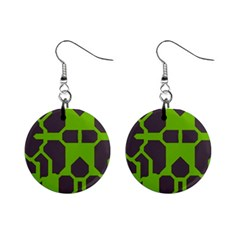 Brown green shapes 1  Button Earrings